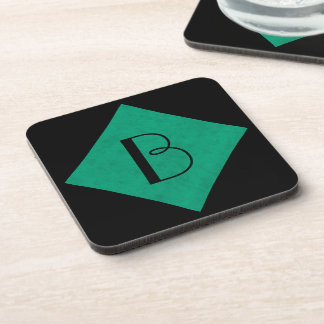 Sea Green Velvet Personalized Home Casino Beverage Coaster