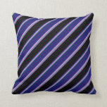 [ Thumbnail: Sea Green, Violet, Midnight Blue, Black & Orchid Throw Pillow ]