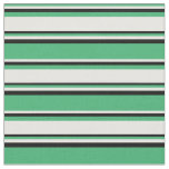 [ Thumbnail: Sea Green, White, and Black Stripes/Lines Pattern Fabric ]