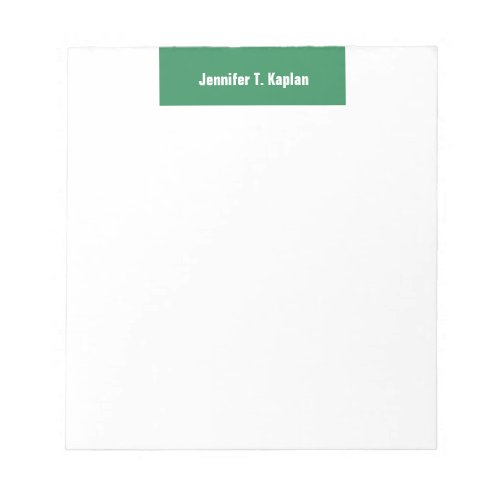 Sea Green White Bold Plain Professional Modern Notepad