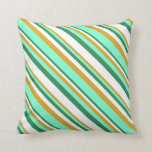 [ Thumbnail: Sea Green, White, Goldenrod & Aquamarine Colored Throw Pillow ]