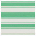 [ Thumbnail: Sea Green & White Lines Fabric ]