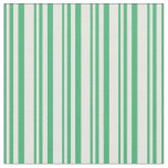 [ Thumbnail: Sea Green & White Lines Pattern Fabric ]
