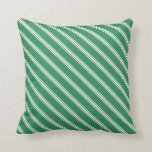 [ Thumbnail: Sea Green & White Pattern Throw Pillow ]