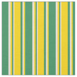 [ Thumbnail: Sea Green, Yellow, and Bisque Colored Pattern Fabric ]