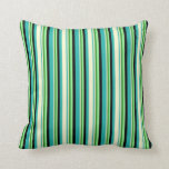 [ Thumbnail: Sea Green, Yellow, Forest Green, Green & Black Throw Pillow ]