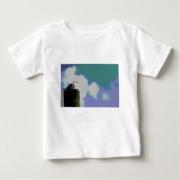 Sea gull on dock piling posterized photograph baby T-Shirt