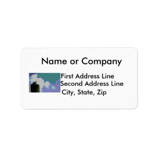Sea gull on dock piling posterized photograph address label
