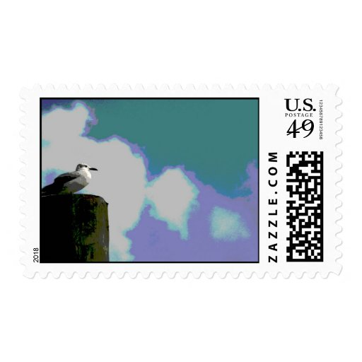 Sea gull on dock piling posterized photograph postage stamps