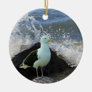 Sea Gull on Rocks Ceramic Ornament