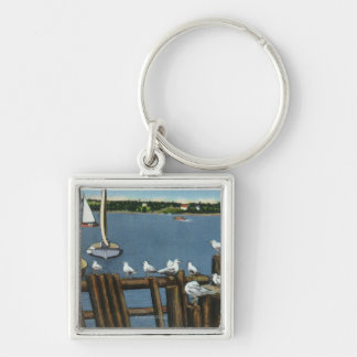 Sea Gulls and Sailboats Along the Waterfront Silver-Colored Square Keychain