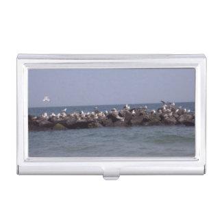 Sea Gulls At The Beach Business Card Cases