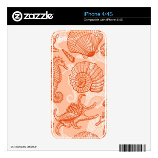 Sea hand drawn pattern skin for the iPhone 4