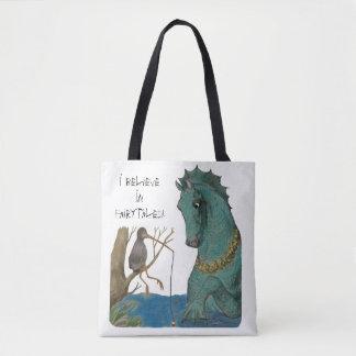 Sea Horse And Fishing Bird Whimsical Tote Bag