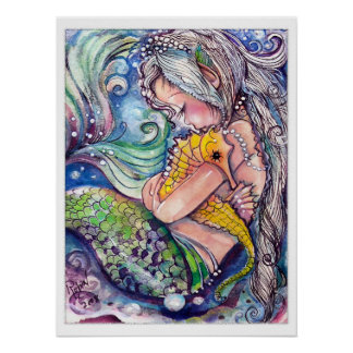 Sea Horse and Mermaid's Hugs Poster