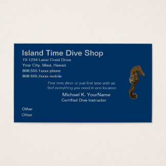 Sea Horse Beach Activities or Dive Shop Business Card