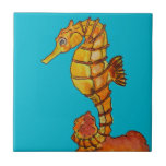 "Sea horse ceramic tile<br><div class=""desc"">A water-colour sea horse.</div>"