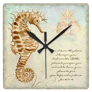 Sea Horse Coastal Beach - Christian Scripture Square Wall Clock