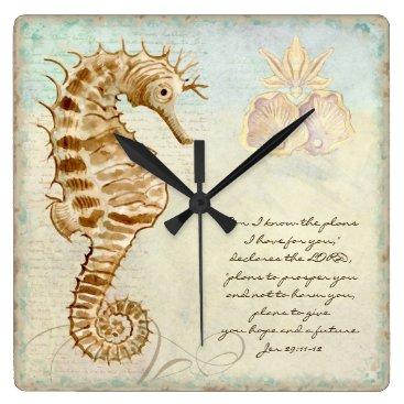 Beach Themed Sea Horse Coastal Beach - Christian Scripture Square Wall Clock