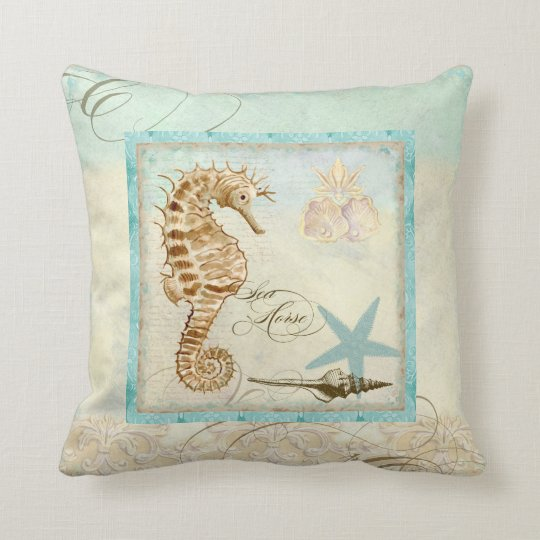 Beach Home Decor Pillows: Sea Horse Coastal Beach - Home Decor Pillow