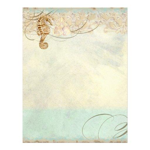 Sea Horse Coastal Beach - Monogrammed Stationery Letterhead