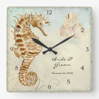 Sea Horse Coastal Beach Personalized Wedding Gift Square Wall Clocks