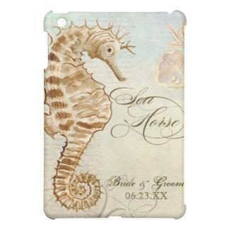 Sea Horse Coastal Beach , Personalized Wedding iPad Mini Cover
