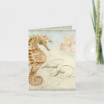 Sea Horse Coastal Beach - Thank You Note Cards