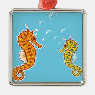Sea Horse color Metal Ornament