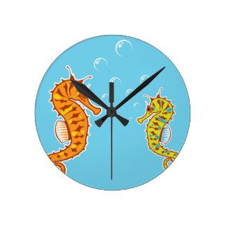 Sea Horse color Round Clock