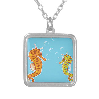 Sea Horse color Silver Plated Necklace