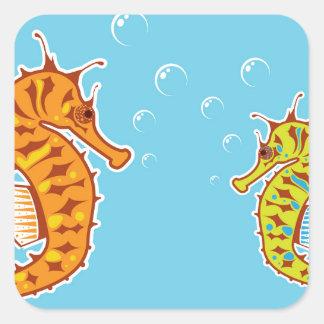 Sea Horse color Square Sticker