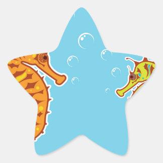 Sea Horse color Star Sticker
