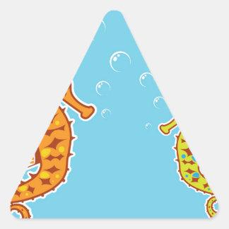 Sea Horse color Triangle Sticker