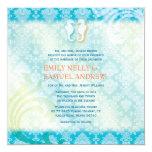 Sea Horse Couple Jeweled Damask Teal Beach Wedding 5.25x5.25 Square Paper Invitation Card