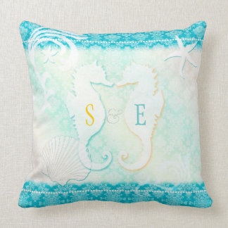 Sea Horse Couple + Monograms Beach House Throw Pillow