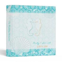 Sea Horse Couple Teal Wedding Photo Book Binders