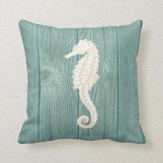 Sea Horse Cream Vintage Aqua Wood Pillow