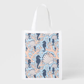 Sea Horse Gardens Blue and Orange Grocery Bag