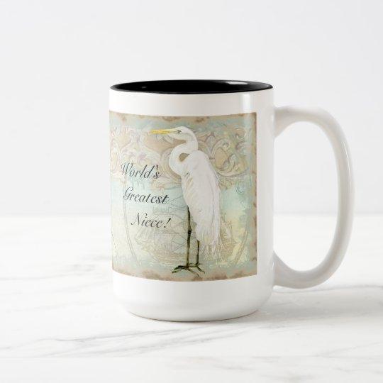 Sea Horse, Great Egret Coastal Beach - Coffee Mug