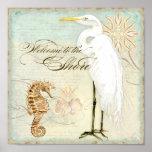 Sea Horse, Great Egret Coastal Beach - Fine Art Poster