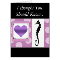 """ Sea Horse Greetings"" Pink/Lavender I love you ! Card"