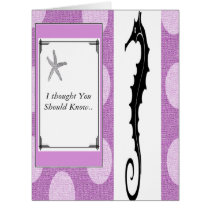 """ Sea Horse Greetings"" Starfish Pink I love You ! Card"