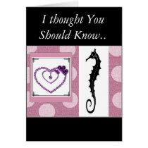 """ Sea Horse Greetings"" w/jewel-heart  I love you ! Card"