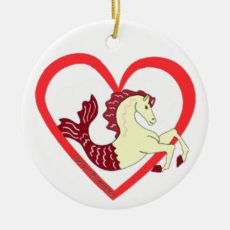 Sea Horse Heart Ceramic Ornament