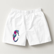 Sea Horse in Pink and Blue Plaid Pattern Boxers