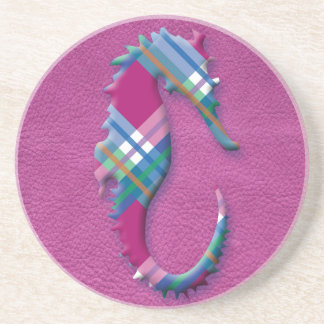 Sea Horse in Pink Blue Plaids on Leather Texture Drink Coaster