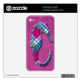 Sea Horse in Pink Blue Plaids on Leather Texture iPhone 4S Decal