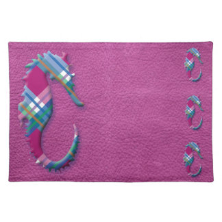 Sea Horse in Pink Blue Plaids on Leather Texture Cloth Place Mat