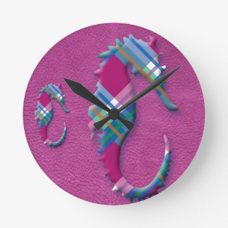 Sea Horse in Pink Blue Plaids on Leather Texture Round Clock